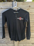 Independent Truck Co Shirt Long Sleeve Waffle Thermal Henley Black Mens Large