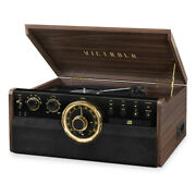 Victrola 7-in-1 Wood Empire Bluetooth Record Player With 3-speed Turntable Cd