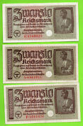 Germany Occupied Territories Lot Of 6 20 Rm Unc Eagle W/h Swastika 1940-45s 384