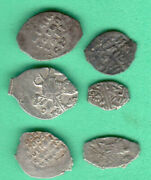 Russia Wire Solid Silver Ca 1547-1613-1702 Lot Of 6 Coins 123