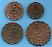 Russia Copper 1 2 3 And 5 Kopeks 1924 Soviet Union Set Of 4 Coins 122