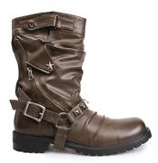 Winter Men Round Toe Long Boots Cowboy Party Male Large Buckle Genuine Leather