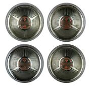 Set Of Four 1958 Oldsmobile Hubcap Dog Dish 10 Hubcaps 1950s