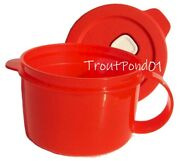 Tupperware Crystalwave Microwave Soup Mug 16 Ounce / 2 Cup Red New