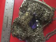 Kenny Ma Gold Tone Chainmail Pouch Style Shoulder Bag Purple Stones