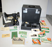 Antique Featherweight Singer Sewing Machine 221 – Works - Lots Of Accessories