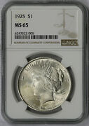1925 Peace Dollar Silver 1 Ms 65 Ngc