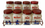 Vintage Dove Milk Glass Spice Chest Full Set Of 8 Jars Rack Most With Labels