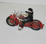 Antique Hubley Red Cast Iron With Rubber Wheels Motorcycle Toy – 2 Cylinder