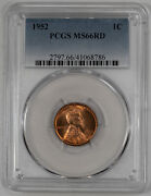 1952 Lincoln Wheat Cent Penny 1c Pcgs Ms 66 Red Mint State Uncirculated 786