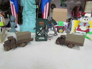 Lot Of 3 Vintage Marx Metal Toys Hopper Loader And 2 1920and039s Army Wind Up Trucks