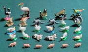 Nos Vintage Hand Painted Miniature Figurine Toy Animals - Made In Hong Kong