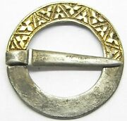13th - 14th Century Medieval Silver-gilt Ring Brooch In Excellent Condition