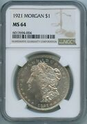 1921 P Ngc Ms64 Morgan Silver Dollar 1 Us Mint 1921-p Ms-64 Pq Coin Looks Pl