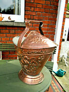 Old Antique Victorian Georgian Style Embossed Copper Fireside Coal Scuttle C1875