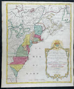 1776 Tobias Lotter Large Antique Post Revolutionary North America Map 13 Colony