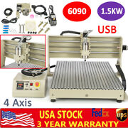 Cnc 6090 4axis 1500w Milling Engraver Machine Usb Diy Mill Router+remote Control