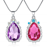 2 Pcs Sofia The First Amulet And Elena Princess Necklace Twin Sister Teardrop