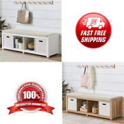 New Beautiful 4-cube Organizer Storage Bench Multiple Finishes Color White Brown