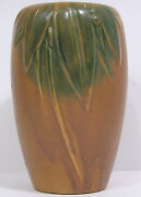 Vintage Early Mccoy Brown And Green Pottery 6 Vase Leaves, Berries 1926 Usa