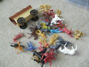 Lot Of Vintage 1970s 80s Plastic Cowboys Western Characters Horses Wagon