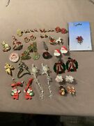 Lot Of Vintage Christmas Jewelry Brooches/pins, Earrings, Pierced And Clip-on