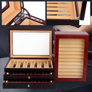 3-layer Wooden Fountain Pen Display Box Storage Organizer Large-capacity 34 Pens