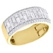 14k Yellow Gold Round And Baguette Diamond Wedding Band 9mm Statement Band 1.25 Ct