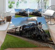 Hot Sale 2/3pcs Bedding Set Green Small Train Print Duvet Cover Gift For Adult