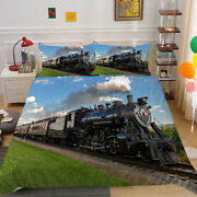 New Bed Quilt Cover Set 3d Green Small Train Design Duvet Cover Set For Boy