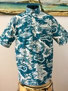 Reyn Spooner Puna Postcard Dragonfly Teal Pullover Classic Fit Various Sizes