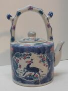 Teapot Creamer Small Deer Grapes Flowers Antler Handle Vintage