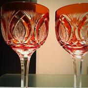 Old Baccarat Orange Cover Cut Decoration Wine Glass Pair Antique Ship From Japan