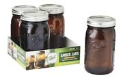 Ball Collection Elite Wide Mouth Quart Amber Mason Jar With Lids And Bands 4 Pack