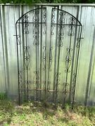 Vintage Pair Antique Wrought Iron Fence Gate Doors Garden Yard Scrolled