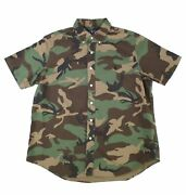Mens Shirt Green Size Xs Button Down Camouflage Print 98 068