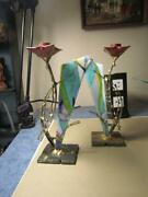 Atom Art Sculptures Candle Stick Holders Rose Stained Glass And Steel 10andrdquo Tall