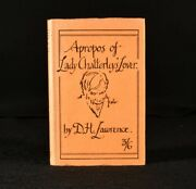 1930 A Propos Of Lady Chatterleyand039s Lover D H Lawrence 1st Edition Scarce