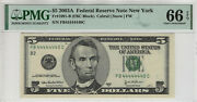 2003 A 5 Federal Reserve Note Near Solid Serial 4's Pmg Gem Unc 66 Epq 440c