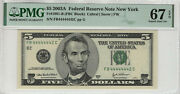 2003 A 5 Federal Reserve Note Near Solid Serial 4's Pmg Supber Gem 67 Epq442c