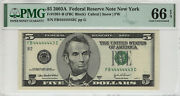 2003 A 5 Federal Reserve Note Near Solid Serial 4's Pmg Gem Unc 66 Epq 443c