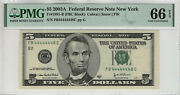 2003 A 5 Federal Reserve Note Near Solid Serial 4's Pmg Gem Unc 66 Epq 448c
