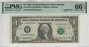 1993 1 Federal Reserve Note Solid Serial 22222222 Fr.1918-f Pmg Gem Unc 66 Epq