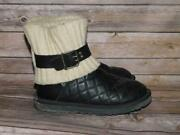 Ugg Size 7 Black Cambridge Boots Diamond Quilted Leather Knit Top Ankle Buckle