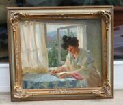 Paul Halke Born 1866 Bukowiec Poland - Reading Young Woman At Open Window