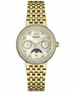 Bulova 98r224 Watch With 32mm White Perl Moon Phase Face And Golden Bracelet.
