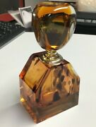 """Vintage Large Shaped Art Deco Glass Perfume Scent Bottle Amber Coloured 5"""" Tall"""