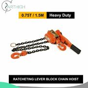 1x 0.75ton Ratcheting Lever Block Chain Hoist Come Along Pulley 5ft