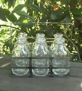 7 Pc Farmhouse Galvanized Metal Caddy And Glass Milk Bottles New Free Shipping