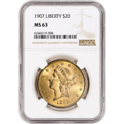 1907 Us Gold 20 Liberty Head Double Eagle - Ngc Ms63